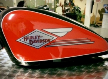 Peinture réservoir Harley Davidson Logo Old School -  FRENCH KHUSTOM by Art Mattwell's