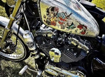 Peinture déco métal flakes Harley Davidson  - FRENCH KHUSTOM by Art Mattwell's