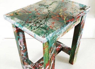 Peinture Tabouret - Personnalisation - Feuille d'Or  - Vernissage -  FRENCH KHUSTOM by Art Mattwell's