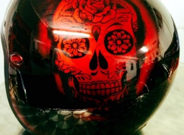 Peinture casque sugar skull  - FRENCH KHUSTOM by Art Mattwell's